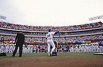 ARLINGTON, TX - 1993:  Nolan Ryan of the Texas Rangers speaks to the fans during Nolan Ryan Day in Arlington Texas in 1993.  (Photo by Rich Pilling)