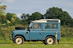 1970s blue Land Rover Series 3 88in Station Wagon. Dunsfold Collection of Land Rovers Open Day 2011, Dunsfold, Surrey, UK. --- No releases available, but releases may not be necessary for certain uses. Automotive trademarks are the property of the trademark holder, authorization may be needed for some uses.