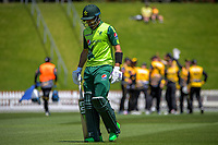 Pakistan's Haider Ali walks off after his dismissal during the t20 cricket match between the Wellington Firebirds and Pakistan at Basin Reserve in Wellington, New Zealand on Tuesday, 29 December 2020. Photo: Dave Lintott / lintottphoto.co.nz