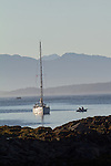 Vancouver Island, Deer Group, British Columbia, Canada, wilderness coast, sailboat at anchor, Diana Island,