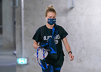 LE HAVRE, FRANCE - APRIL 13: Emily Sonnett #14 of the USWNT arrives at the stadium before a game between France and USWNT at Stade Oceane on April 13, 2021 in Le Havre, France.