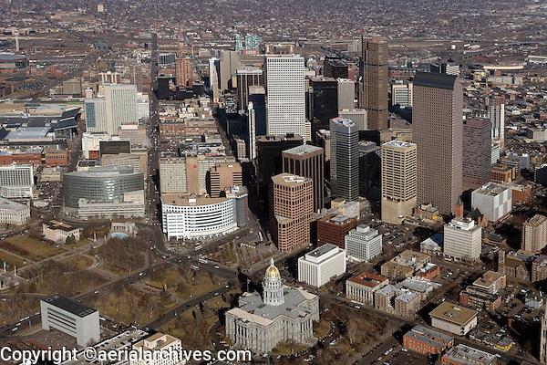 aerial photograph downtown financial district Denver, Colorado