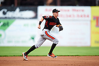 Aberdeen Ironbirds shortstop Chris Clare (5) during a game against the Batavia Muckdogs on July 16, 2016 at Dwyer Stadium in Batavia, New York.  Aberdeen defeated Batavia 9-0. (Mike Janes/Four Seam Images)
