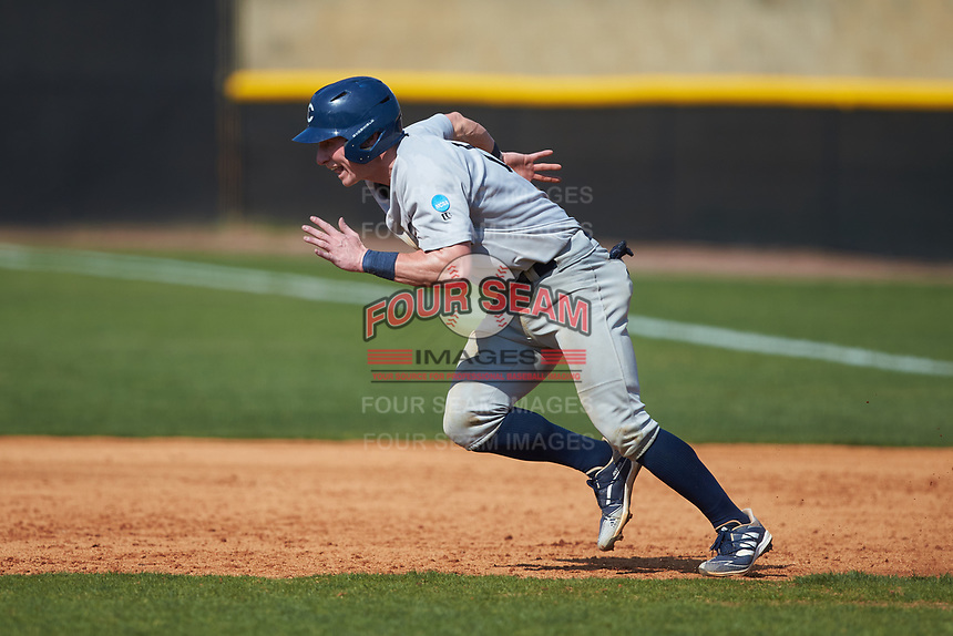 Joe Butts (10) of the Catawba Indians takes off for second base during game two of a double-header against the Queens Royals at Tuckaseegee Dream Fields on March 26, 2021 in Kannapolis, North Carolina. (Brian Westerholt/Four Seam Images)