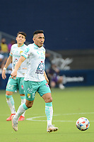 KANSAS CITY, KS - AUGUST 10: Angel Mena #13 Club Leon with the ball during a game between Club Leon and Sporting Kansas City at Children's Mercy Park on August 10, 2021 in Kansas City, Kansas.