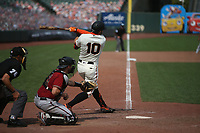 SAN FRANCISCO, CA - AUGUST 23:  Evan Longoria #10 of the San Francisco Giants bats against the Arizona Diamondbacks during the game at Oracle Park on Sunday, August 23, 2020 in San Francisco, California. (Photo by Brad Mangin)