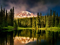 Reflection Lake with fog on Mt. Rainier. Mt. Rainier National Park, Washington