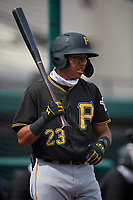 Pittsburgh Pirates Carlos Canache (23) on deck during a Florida Instructional League game against the Detroit Tigers on October 16, 2020 at Joker Marchant Stadium in Lakeland, Florida.  (Mike Janes/Four Seam Images)