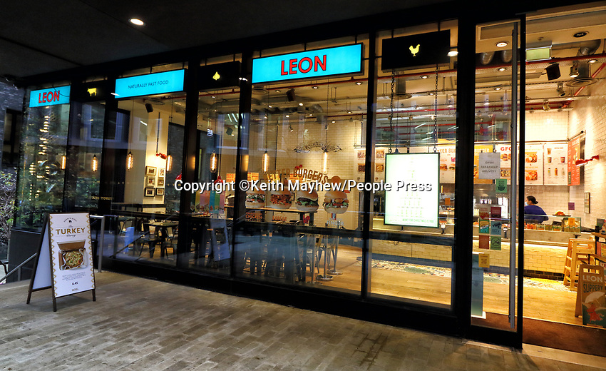 Exterior of a Leon restaurant. Due to the ongoing loss of revenues due to the Covid-19 pandemic lockdown, the business is planning a company voluntary arrangement (CVA) to seek permanent rent cuts from landlords to allow it to continue trading. 25th November 2020<br /> <br /> Photo by Keith Mayhew