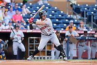 Tony Sanchez (26) of the Indianapolis Indians at bat against the Durham Bulls at Durham Bulls Athletic Park on August 4, 2015 in Durham, North Carolina.  The Indians defeated the Bulls 5-1.  (Brian Westerholt/Four Seam Images)