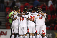 Players of the University of Maryland huddle during an NCAA 3rd. round match against Penn State at Ludwig Field, University of Maryland, College Park, Maryland on November 28 2010.Maryland won 1-0.