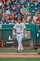 Jared Walsh (18) of the Salt Lake Bees comes up to bat against the El Paso Chihuahuas at Smith's Ballpark on August 17, 2019 in Salt Lake City, Utah. The Bees defeated the Chihuahuas 5-4. (Stephen Smith/Four Seam Images)