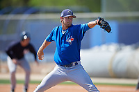 Toronto Blue Jays pitcher Jared Carkuff (70) delivers a pitch during a minor league Spring Training game against the New York Yankees on March 30, 2017 at the Englebert Complex in Dunedin, Florida.  (Mike Janes/Four Seam Images)