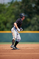 Pittsburgh Pirates Lucas Tancas (5) leads off second base during an Instructional League intrasquad black and gold game on September 28, 2017 at Pirate City in Bradenton, Florida.  (Mike Janes/Four Seam Images)