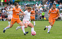 St. Louis Athletica midfielder Lori Chalupny (17) and Sky Blue FC midfielder Collette McCallum (14) battle for the ball during a WPS match at Anheuser-Busch Soccer Park, in St. Louis, MO, June 7 2009.  Athletica won the match 1-0.