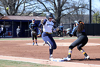 DURHAM, NC - FEBRUARY 29: Emma Clark #15 of the University of Notre Dame beats the throw to first for a single during a game between Notre Dame and Duke at Duke Softball Stadium on February 29, 2020 in Durham, North Carolina.