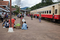 "Myanmar, Burma.  Kalaw Train Station Platform.  ""Upper Class"" Coach on right."