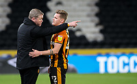 Hull City manager Grant McCann congratulates Hull City's Thomas Mayer after the match<br /> <br /> Photographer Alex Dodd/CameraSport<br /> <br /> EFL Papa John's Trophy - Northern Section - Group H - Hull City v Grimsby Town - Tuesday 17th November 2020 - KCOM Stadium - Kingston upon Hull<br />  <br /> World Copyright © 2020 CameraSport. All rights reserved. 43 Linden Ave. Countesthorpe. Leicester. England. LE8 5PG - Tel: +44 (0) 116 277 4147 - admin@camerasport.com - www.camerasport.com