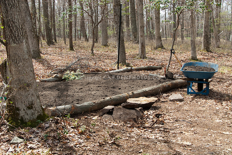 Creating a raised bed in shade with logs, wheelbarrow, new soil