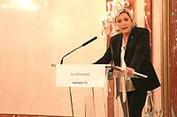 Conférence de presse de Marine Le Pen à Paris, le 13/03/2017.