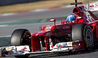 Ferrari Racing's Spanish Fernando Alonso drives his car during the F1 Test days in Montmelo racetrack, Barcelona, 22 February 2012. PHOTO Insidefoto / Alejandro Garcia / Anatomica Press
