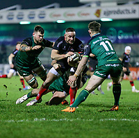 27th December 2020 | Connacht  vs Ulster <br /> <br /> Alby Mathewson is tackled by Denis Buckley, Eoghan Masterson and Matt Healy during the Guinness PRO14 match between Connacht and Ulster at The Sportsground in Galway. Photo by John Dickson/Dicksondigital