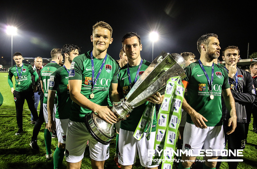 2017 SSE Airtricity League Premier Division,<br /> Cork City vs Bray Wanderers,<br /> Friday 27th October 2017,<br /> Turners Cross, Cork.<br /> Sean Mcloughlin and Connor Ellis celebrate with the trophy<br /> Photo By: Michael P Ryan