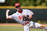 Ball State Cardinals second baseman Daniel Brodsky (46) during practice before a game against the Dartmouth Big Green on March 7, 2015 at North Charlotte Regional Park in Port Charlotte, Florida.  Ball State defeated Dartmouth 7-4.  (Mike Janes/Four Seam Images)