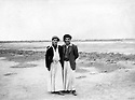 Iraq 1952.Right, Failak Eddine dressed in  Kakai clothing near his village Top Zawa, near Kirkuk  Irak 1952 A droite Failak Eddine  en tenue Kakai pres de son village de Top Zawa