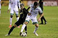 LANUS - ARGENTINA, 20-05-2021: Lucas Gabriel Vera de Club Atletico Lanus (ARG) y Pablo Lima de La Equidad (COL), luchan por el balon durante partido del grupo H fecha 5 entre Club Atletico Lanus (ARG) y La Equidad (COL) por la Copa CONMEBOL Sudamericana 2021 en el Estadio Ciudad de Lanus - Nestor Diaz Perez de la ciudad de Lanus. / Lucas Gabriel Vera of Club Atletico Lanus (ARG) and Pablo Lima of La Equidad (COL), fight for the ball during a match of the group H 5th date beween Club Atletico Lanus (ARG) and La Equidad (COL) for the CONMEBOL Sudamericana Cup 2021 at the Ciudad de Lanus - Nestor Diaz Perez Stadium, in Lanus city. / Photo: VizzorImage / Fotobaires / Nicolas Aboaf / Cont.
