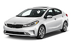 2018 KIA Forte EX-AT 4 Door Sedan Angular Front stock photos of front three quarter view