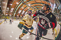 17 December 2013:  Northeastern University Huskies Forward Braden Pimm, a Senior from Fort St. John, British Columbia, jostles with University of Vermont Catamount Forward Jake Fallon, a Junior from Southlake, Texas, at Gutterson Fieldhouse in Burlington, Vermont. The Huskies shut out the Catamounts 3-0 to end UVM's 5 game winning streak. Mandatory Credit: Ed Wolfstein Photo *** RAW (NEF) Image File Available ***