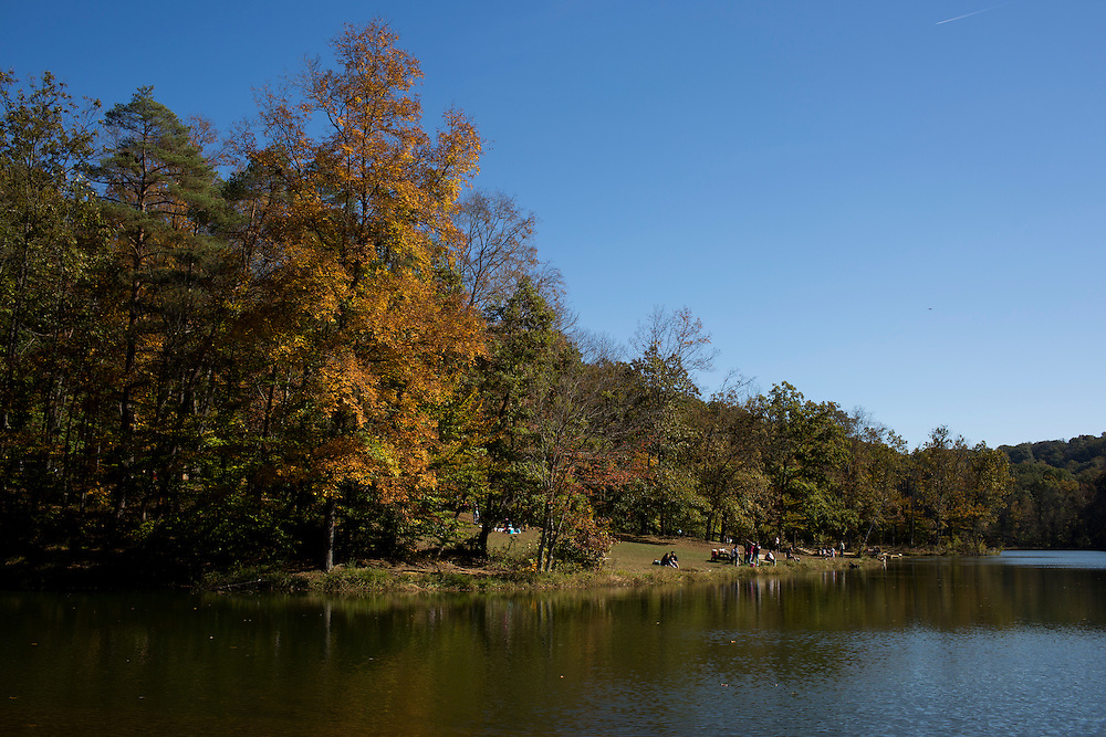 Fall foliage is seen along Ogle Lake on Sunday, Oct. 23, 2016, at Brown County State Park. (Photo by James Brosher)