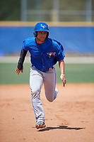 Toronto Blue Jays shortstop Bo Bichette (18) runs the bases during a minor league Spring Training game against the New York Yankees on March 30, 2017 at the Englebert Complex in Dunedin, Florida.  (Mike Janes/Four Seam Images)