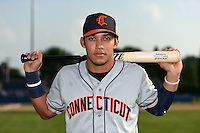 Connecticut Tigers third baseman Steven Fuentes (24) poses for a photo before a game against the Batavia Muckdogs on July 21, 2014 at Dwyer Stadium in Batavia, New York.  Connecticut defeated Batavia 12-3.  (Mike Janes/Four Seam Images)