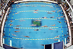 18 May 2007: Swimmers get ready for their races in the warmup pool on the second day of the Erik Namesnik Memorial Grand Prix in Ann Arbor, Mich. The event, which runs through Sunday, has a morning finals format to help prepare swimmers for the Beijing Olympics. Finals at the 2008 Games were moved to the morning because NBC wants to broadcast gold-medal races live in U.S. prime time.