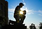 August 5, 2019; Frank Leahy statue outside Notre Dame Stadium (Photo by Matt Cashore/University of Notre Dame)