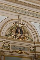 Europe/Monaco/Monte Carlo: restaurant: Louis XV / Alain Ducasse à l'Hôtel de Paris - Détail de la décoration Belle Epoque de la salle  de restaurant [Non destiné à un usage publicitaire - Not intended for an advertising use]