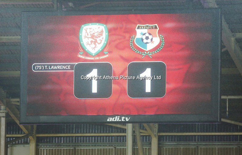 Final score of 1-1 on the scoreboard during the international friendly soccer match between Wales and Panama at Cardiff City Stadium, Cardiff, Wales, UK. Tuesday 14 November 2017.