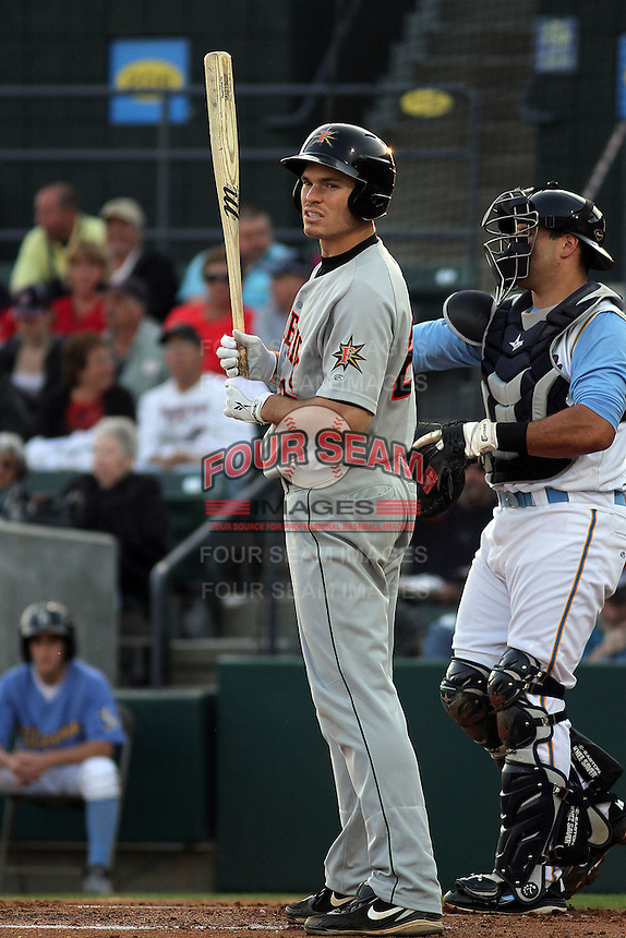 Frederick Keys 1st baseman Michael Flacco #27 at bat during a game against the Myrtle Beach Pelicans at Tickerreturn.com Field at Pelicans Ballpark on April 25, 2012 in Myrtle Beach, South Carolina. Myrtle Beach defeated Frederick by the score of 3-1. (Robert Gurganus/Four Seam Images)