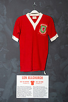 Len Allchurchs' 1957/58 Wales home shirt is displayed at The Art of the Wales Shirt Exhibition at St Fagans National Museum of History in Cardiff, Wales, UK. Monday 11 November 2019