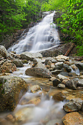 Cloudland Falls on Dry Brook in Franconia Notch State Park in Lincoln, New Hampshire during the spring months. The Falling Waters Trail passes by this scenic waterfall.