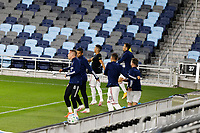 ST PAUL, MN - SEPTEMBER 06: Real Salt Lake subs warm up during a game between Real Salt Lake and Minnesota United FC at Allianz Field on September 06, 2020 in St Paul, Minnesota.
