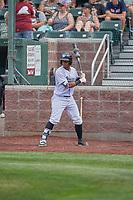 Ismaldo Rodriguez (6) of the Idaho Falls Chukars on deck against the Orem Owlz at Melaleuca Field on July 14, 2019 in Idaho Falls, Idaho. The Owlz defeated the Chukars 6-2. (Stephen Smith/Four Seam Images)