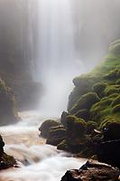 Dynjandisa River falls over Strompgljufrafoss (Strompur) waterfall, West Iceland, Iceland
