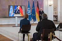 Pressekonferenz mit Bundespraesident Frank Walter Steinmeier und WHO-Generaldirektor Tedros Adhanom Ghebreyesus im Anschluss an Gespraeche zur Impfinitiative Covax. Der WHO-Generaldirektor war per Video der Pressekonferenz zugeschaltet.<br /> 22.2.2021, Berlin<br /> Copyright: Christian-Ditsch.de