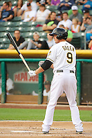Grant Green (9) of the Salt Lake Bees at bat against the Tacoma Rainiers in Pacific Coast League action at Smith's Ballpark on July 9, 2014 in Salt Lake City, Utah.  (Stephen Smith/Four Seam Images)