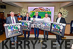 Pat Spillane, Mikey Sheehy  John O'Dwyer, Ger Power and Padraig O'Se holding memontos at the Kerry Supporters Social in the Ballygarry House Hotel on Saturday