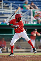 Batavia Muckdogs shortstop Demetrius Sims (3) at bat during a game against the West Virginia Black Bears on June 19, 2018 at Dwyer Stadium in Batavia, New York.  West Virginia defeated Batavia 7-6.  (Mike Janes/Four Seam Images)