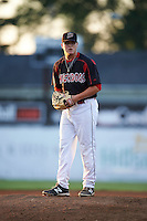 Batavia Muckdogs pitcher Nick White (16) gets ready to deliver a pitch during a game against the Auburn Doubledays July 10, 2015 at Dwyer Stadium in Batavia, New York.  Auburn defeated Batavia 13-1.  (Mike Janes/Four Seam Images)